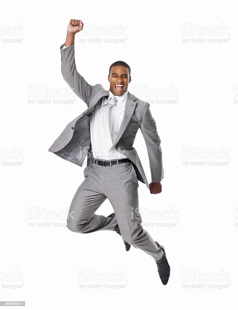 Cheerful Businessman Jumping - Isolated stock photo