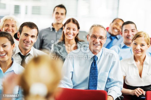 640177838 istock photo Cheerful businesspeople on a seminar. 175588647