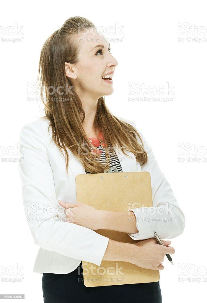 """Joyeuse Femme d'affaires à la recherche """" photo libre de droits"""