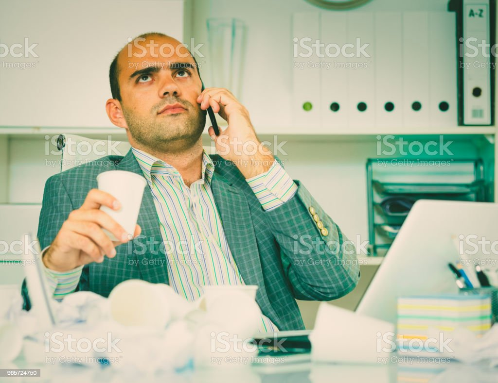 Cheerful bussinesman talking on the phone - Royalty-free Administrator Stock Photo