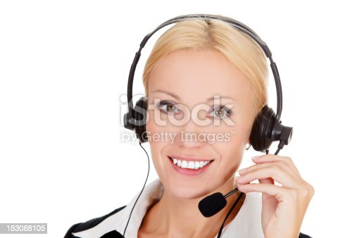 Cheerful call center operator against white background.
