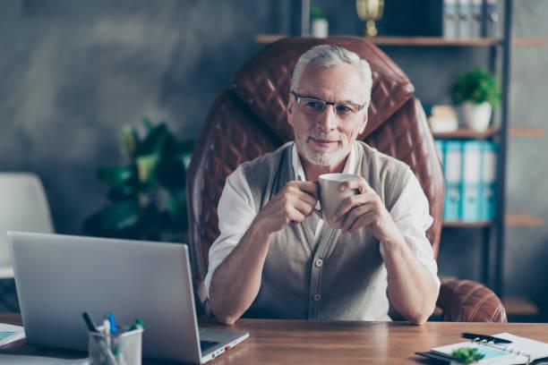 歡快的粗心興奮的老商人與豬鬃正在思考假期坐在扶手椅上的筆記本電腦 - 財富 個照片及圖片檔