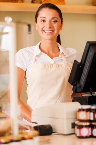 istock Cheerful cashier. 511870471