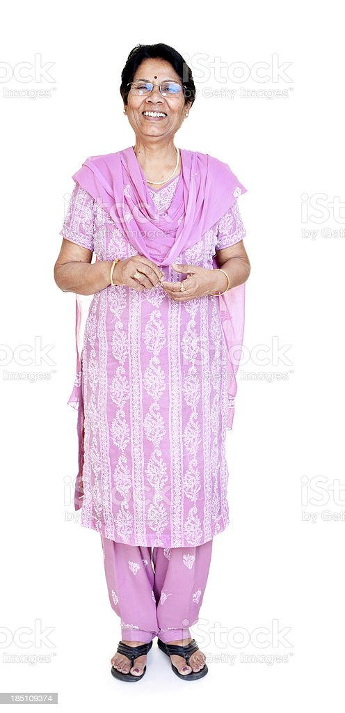 Cheerful Casual Indian Senior Women Full Length Isolated on white stock photo