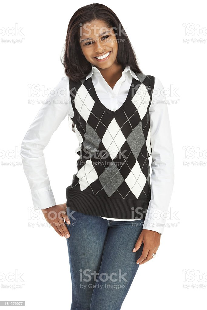 Cheerful Casual Young Woman in Argyle Sweater Vest stock photo