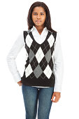 istock Cheerful Casual Young Woman in Argyle Sweater Vest 184298554