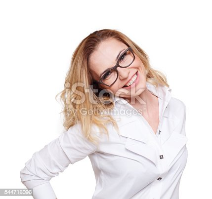 istock Cheerful caucasian blond woman isolated on white background. 544716096