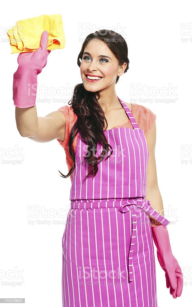Cheerful cleaner royalty-free stock photo
