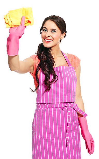 Cheerful cleaner Portrait of a cheerful young woman wearing an apron and washing up gloves, holding a yellow rag.  cheesy grin stock pictures, royalty-free photos & images