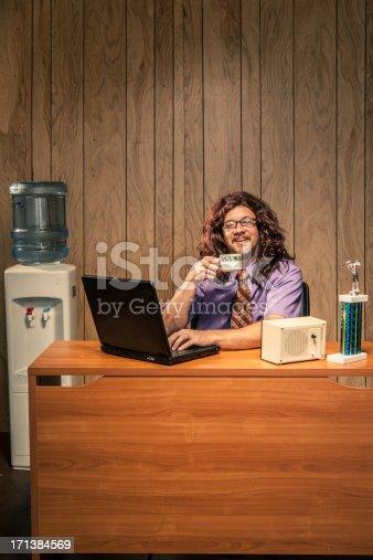 618210072 istock photo Cheerful Coffee Drinking Retro Office Worker IT Computer Tech 171384569