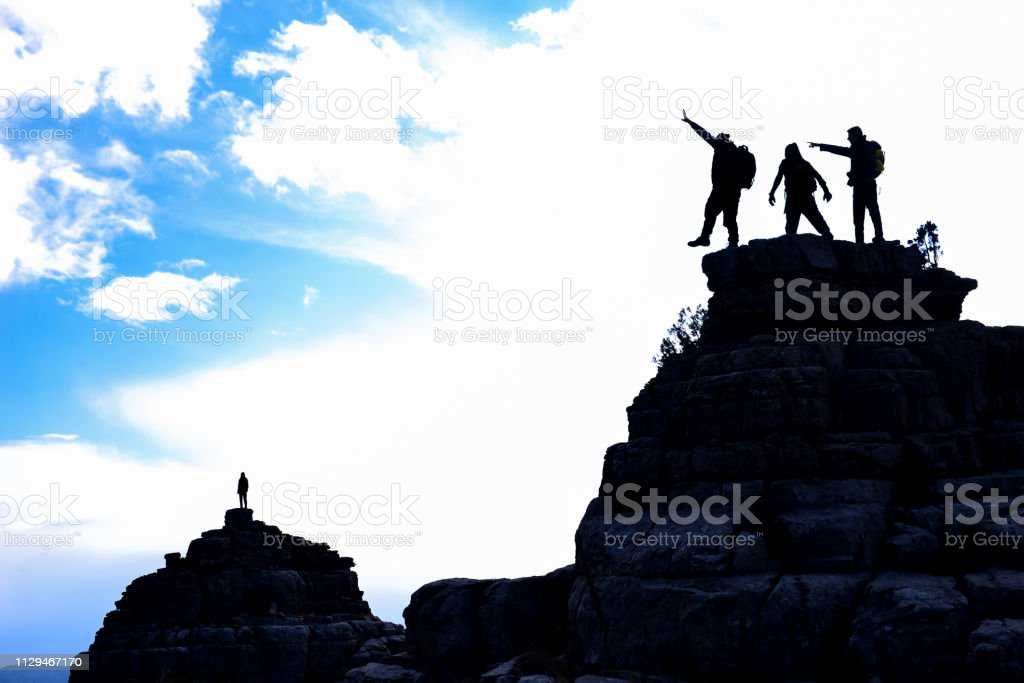 cheerful, combative and enthusiastic climbers stock photo