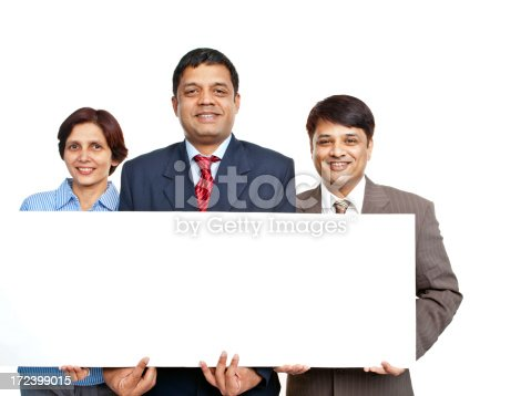 istock Cheerful Confident Indian Corporate Business Team with Placard 172399015