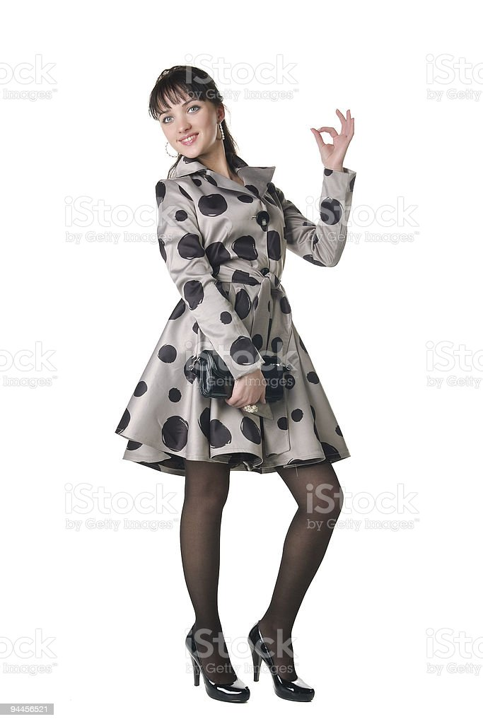 cheerful coquette in retro style dress. royalty-free stock photo
