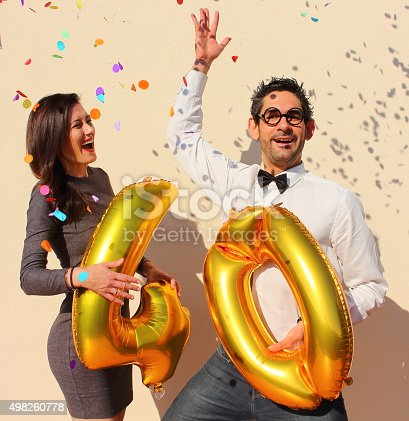 istock Cheerful couple celebrates a forty years birthday 498260778