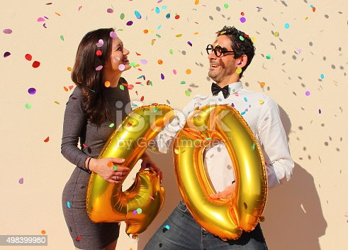 istock Cheerful couple celebrates a forty years birthday 498399980