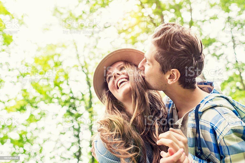 Cheerful Couple Green Nature Summer Love stock photo