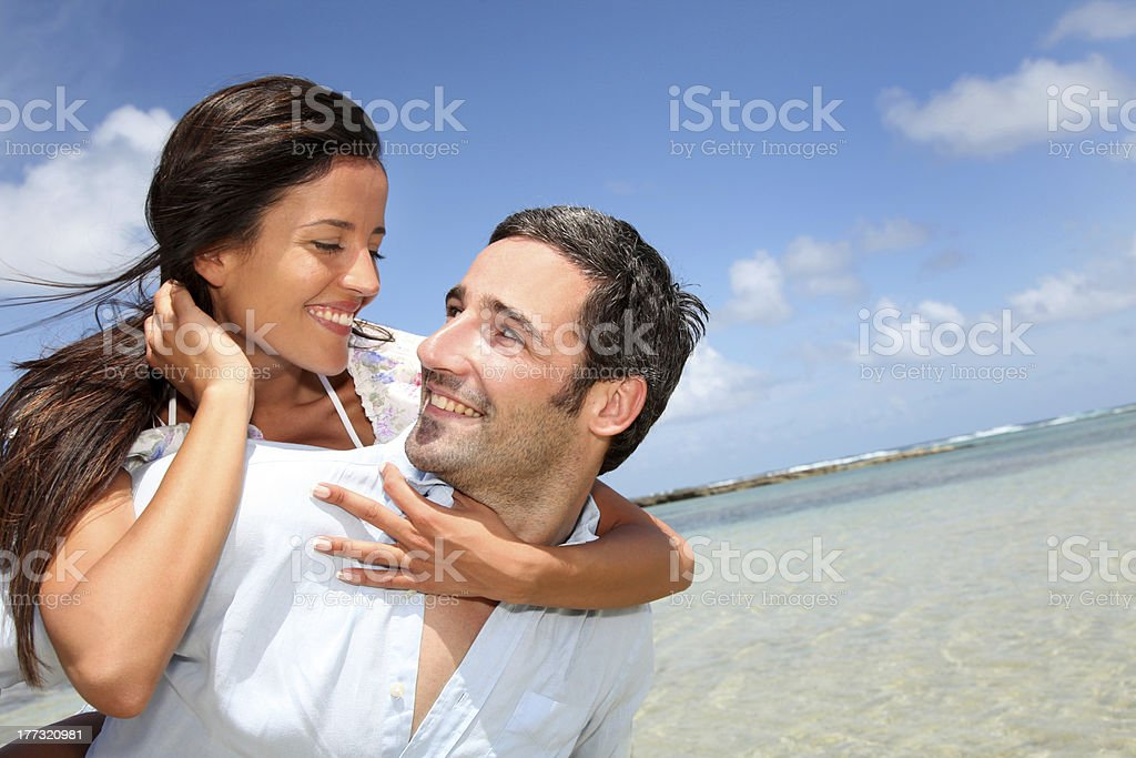 Cheerful couple on vacation royalty-free stock photo