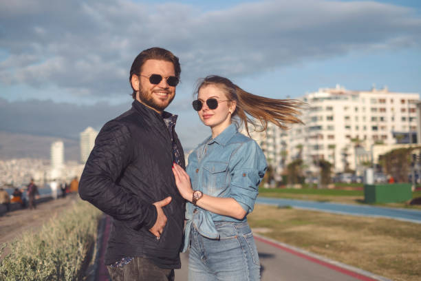 Cheerful Couple Outdoor Images stock photo