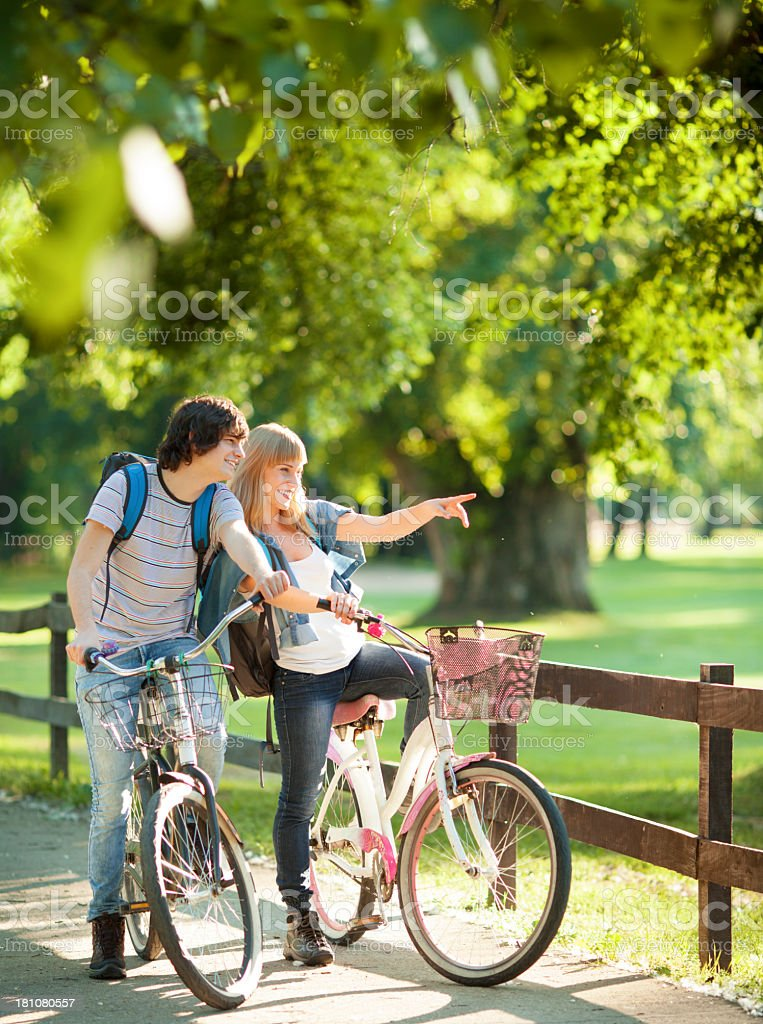 Cheerful Couple Riding Bicycles. royalty-free stock photo