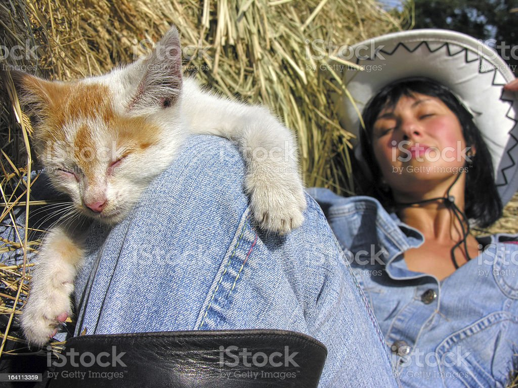 Cheerful Cowgirl Playing With Funny Kitten Stock Photo   Download ...