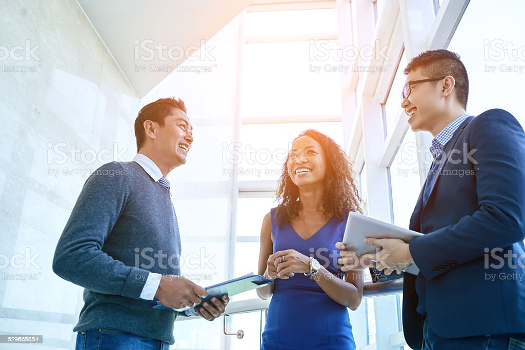 Cheerful coworkers stock photo