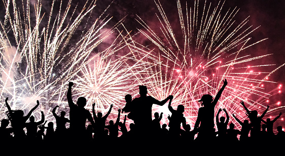 Cheerful crowd of people watching a salute, firework. Celebration, feast, holiday. Silhouette background, illustration