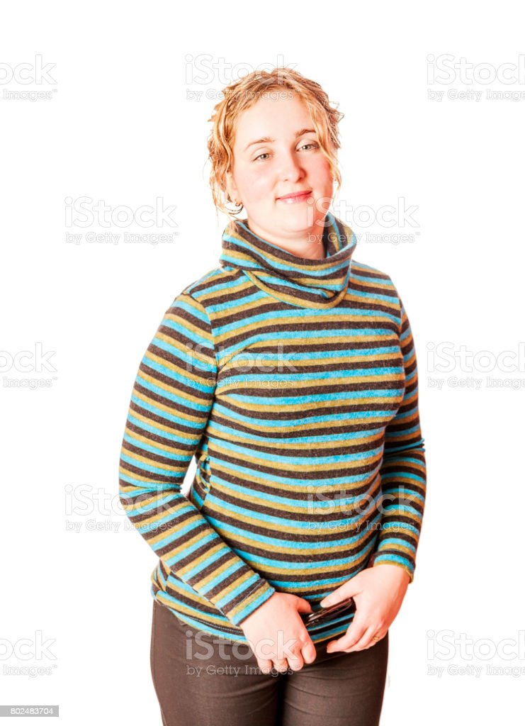 Cheerful curly Woman stock photo