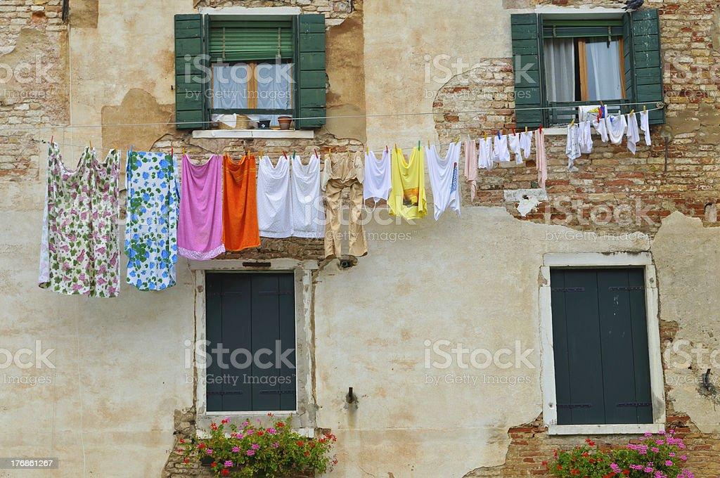 Cheerful Domestic Washing Line stock photo