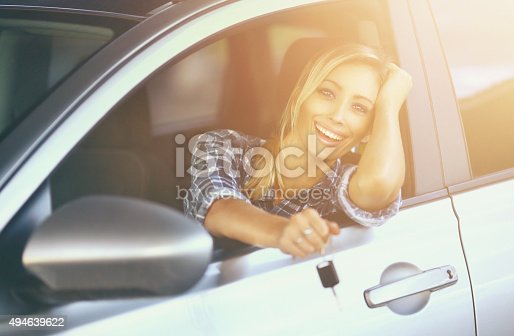 istock Cheerful driver with new car. 494639622