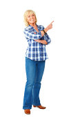 istock Cheerful elderly woman pointing at blank copyspace 463242787