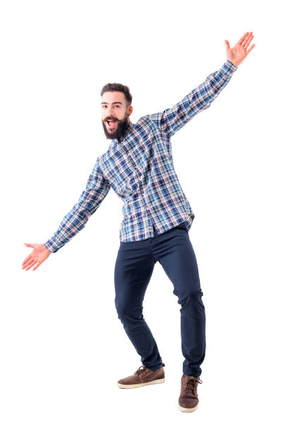 cheerful excited bearded business man with open arms welcoming hugging gesture. - arms outstretched stock photos and pictures