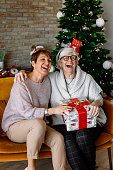 Cheerful excited old ladies sitting on a sofa at the living room, exchanging Christmas gifts. Senior female friends having fun, laughing on Thanksgiving Christmas days. Happy to be together.
