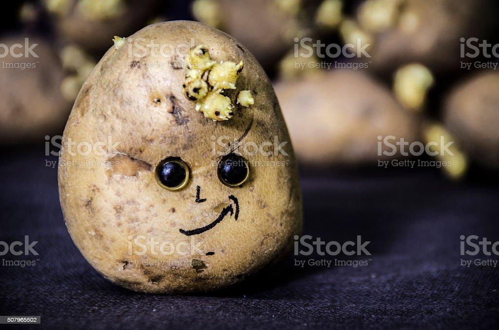 cheerful face on potatoes stock photo