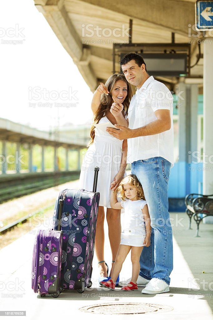 Cheerful Family At Train Station. royalty-free stock photo
