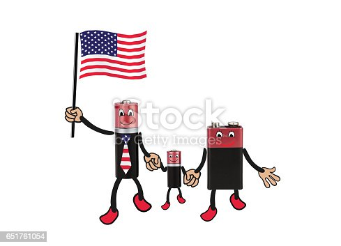 istock Cheerful family batteries with USA flag  - mom, dad, son...  Environmentally friendly energy sources, recycling, battery, humor, white background, isolated, montage 651761054