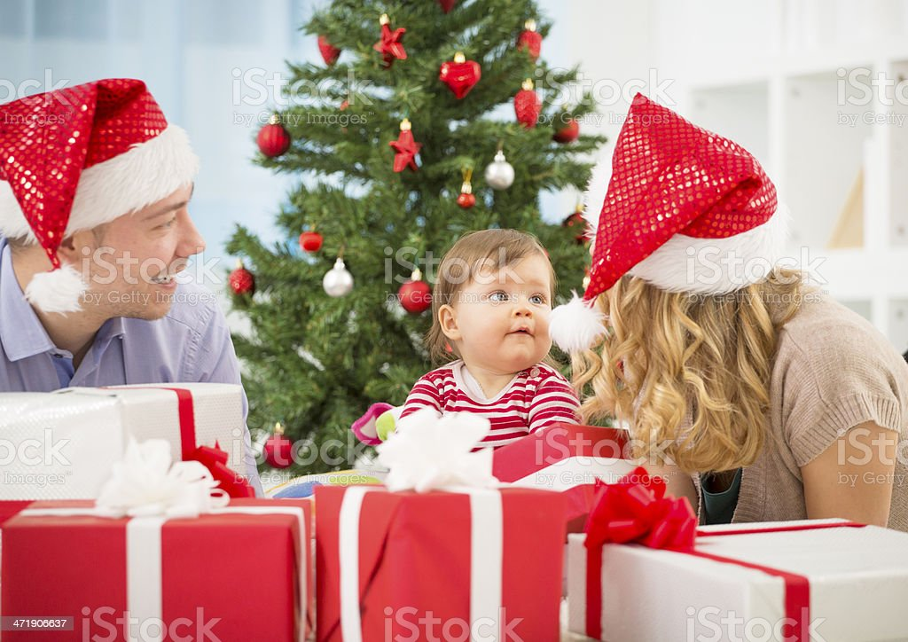 Cheerful Family Christmas Fun. royalty-free stock photo