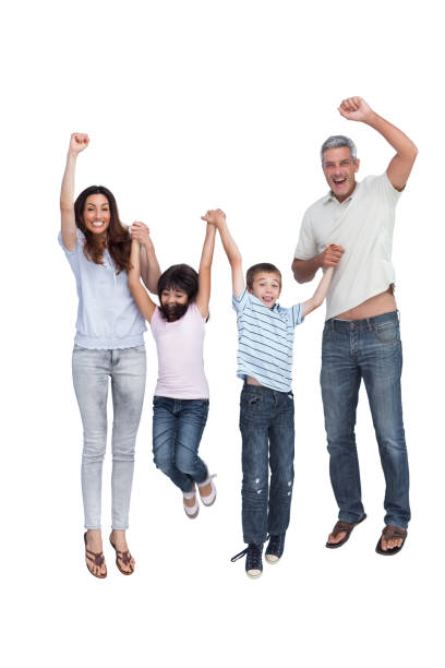cheerful family jumping - african youth jumping for joy stock photos and pictures