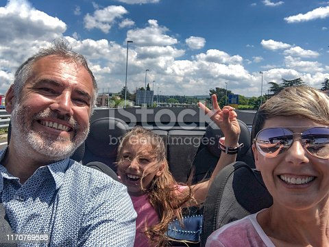 807410214istockphoto Cheerful Family on Road Trip in Covertible Car 1170769588