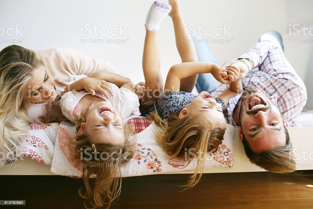 Cheerful family. stock photo