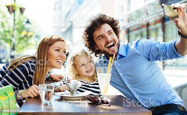 Cheerful family sitting in a restaurant outdoors and making selfie picture id496038337?b=1&k=6&m=496038337&s=612x612&h=8ujnyf8hrtdz1obh557zmiiy1bbyn08hrrjdzhmaaeq=