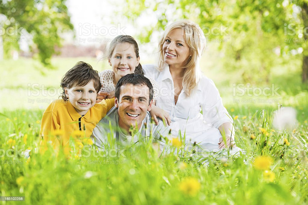 Cheerful family sitting in the field of dandelions. royalty-free stock photo
