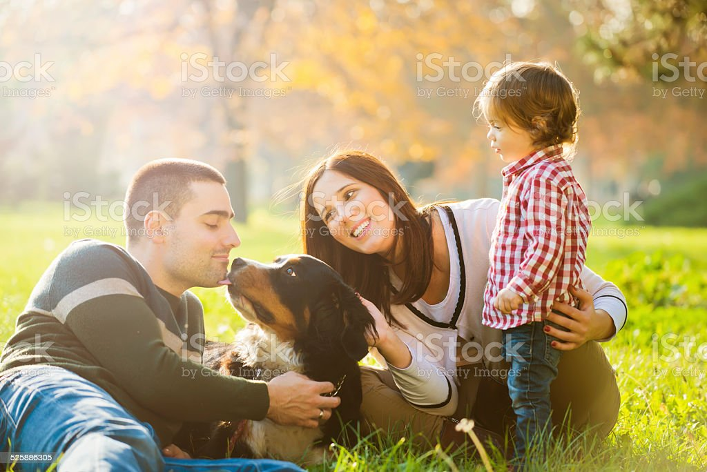 Cheerful family with dog outdoor stock photo