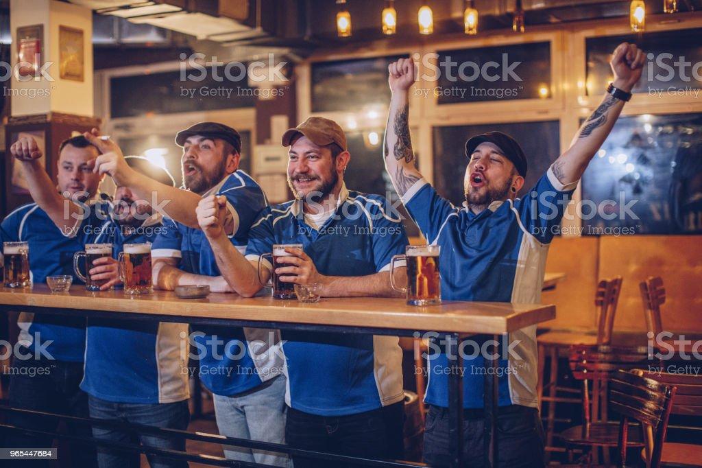 Cheerful fans in pub zbiór zdjęć royalty-free