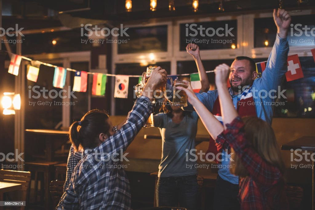 Cheerful fans stock photo