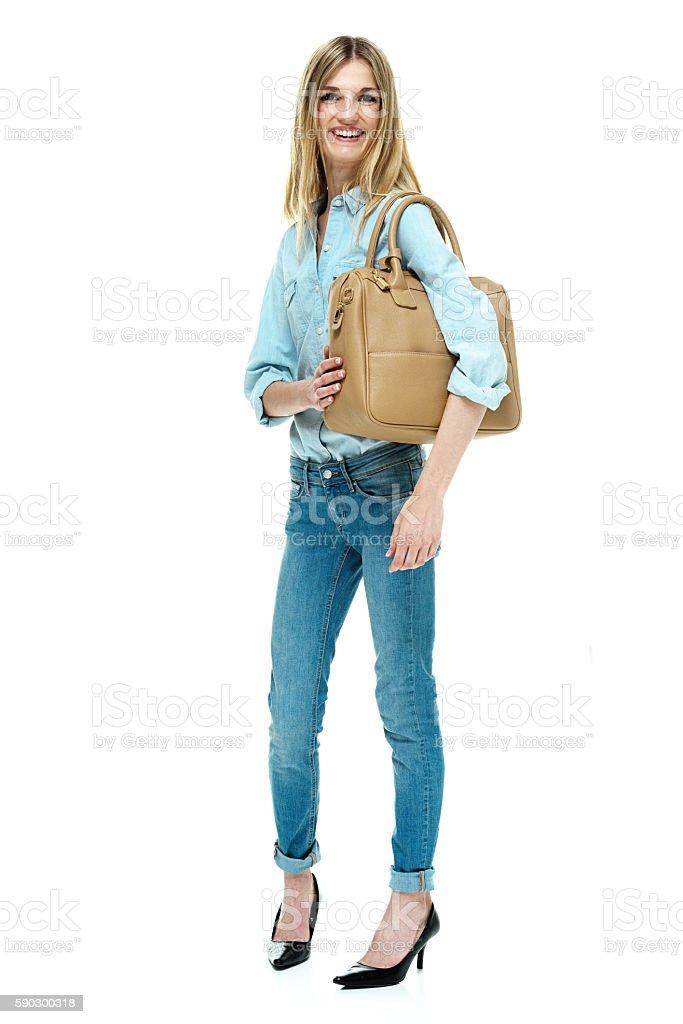 Cheerful fashionable female standing Стоковые фото Стоковая фотография