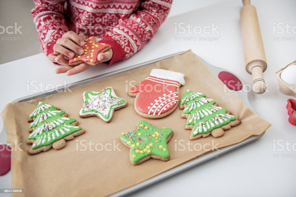 Cheerful female kid eating sweet pastry on holiday royalty-free stock photo