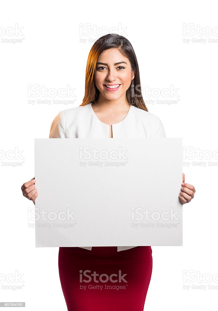 Cheerful female professional worker holding blank sign - foto de stock