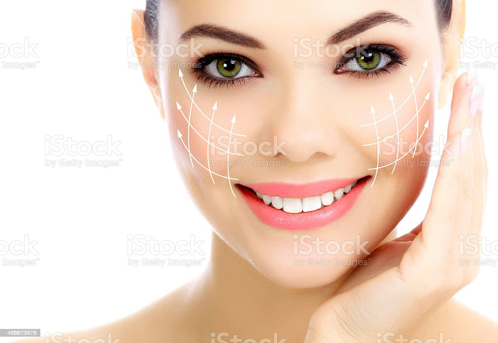 Cheerful female with fresh clear skin stock photo