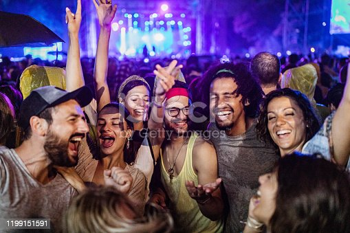 Large group of cheerful friends having fun on music festival by night.
