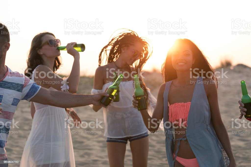Young adults drinking beer on beach royalty-free stock photo